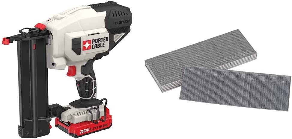 PORTER-CABLE 20V MAX Cordless Brad Nailer Kit, 18GA (PCC790LA) & BOSTITCH 18 Gauge Brad Nails, 2-Inch, Coated, 1000 per Box (BT1350B-1M)