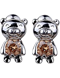 Dazzling Rhodium Plated Champagne Round Cut Flawless Cubic Zirconia Cute Bear Post Stud Earrings