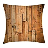 Ambesonne Wooden Throw Pillow Cushion Cover, Lodge Style Hardwood Planks Image Print Farmhouse Grunge Design, Decorative Square Accent Pillow Case, 16 X 16 Inches, Salmon Orange Burnt Orange