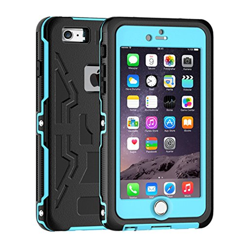 iPhone 6S Waterproof Case, iThrough iPhone 6 Waterproof Case, Dust Proof, Snow Proof, Shock Proof, Heavy Duty Full Body Protective Carrying Case, Hard Bumper Cover for iPhone 6S, iPhone 6 (Q-Blue)