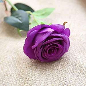 Bringsine Premium Artificial,Real Touch Pu Silk Rose Fake Flowers Home Decorations for Bridal Wedding Bouquet,Birthday Bunch Hotel Party Garden Floral Decor-Purple 4