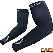 Meister HEX Graduated Compression Arm Sleeves (PAIR) for Basketball, Football and All Sports - Black - Large