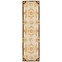 Safavieh French Tapis Collection FT225A Handmade Beige and Black Hand-Spun Wool and Silk Area Runner, 2-Feet 3-Inch by 12-Feet