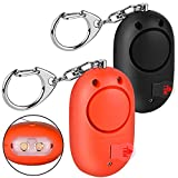 2 Pack 130db Personal Security Alarm with Keychain and LED Flashlight Olycism Panic Alarm for Women/Elderly/Rape/Jogger/Student Self Defense Protection (Black&Orange)