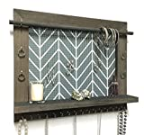 Firwood Forest Jewelry Holder, Large Rustic Wood Handcrafted Wall Mounted Organizer