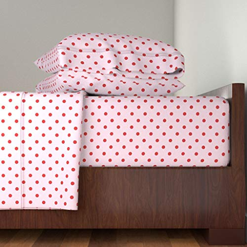 Roostery Polka Dots 4pc Sheet Set Strawberry Red Summer Pink Classic Print 50S Retro by Lilyoake 100% Cotton Sateen King Sheet Set