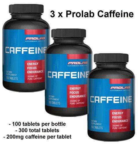 pilules de caféine de 200 mg par 100 comprimés ProLab (3 bouteilles)