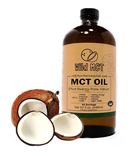 100% Pharmaceutical Grade MCT Oil, Wild MCT, Made in USA, 32-fluid Oz Glass bottle, Guaranteed Quality, C8/C10 Blend, Great For Smoothies, Salads, Coffee, and Shakes (Mct Oil Organic)