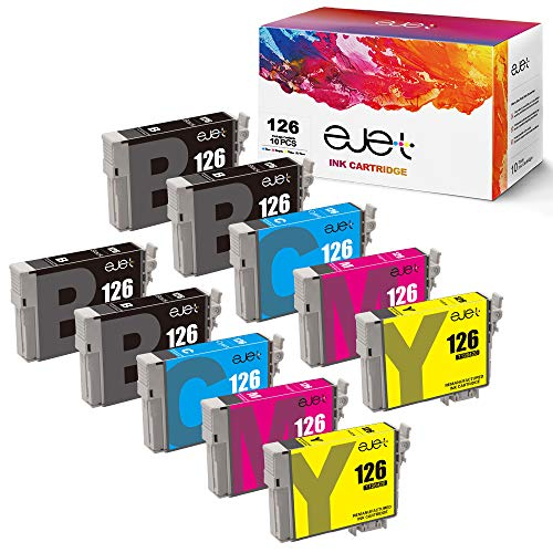 ejet Remanufactured Ink Cartridge Replacement for Epson 126 T126 to use with Workforce 545 645 845 630 840 WF-3520 WF-3540 WF-7520 WF-7010 Stylus NX430 (4 Black, 2 Cyan, 2 Magenta, 2 Yellow) 10 Pack (Epson 3540 Printer Ink)