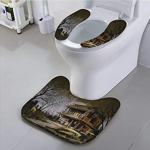 eat Old Haunted Abanded Wood House Dark Night with Bats Scary Horror Paint Suit for The Toilet ()