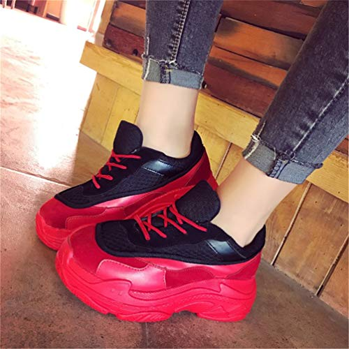 Mujeres aumentó Mujer Rojo Malla Zapatos Zapatillas de Plataforma Enredaderas Bombas Encaje Mujer Mujeres internos hasta Casual Zapatos qYxPqt
