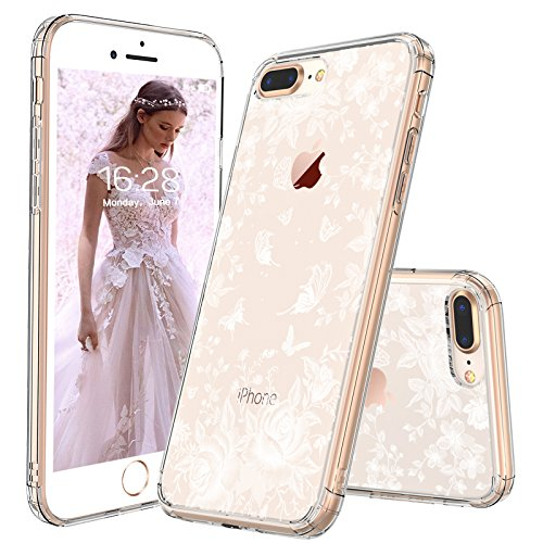 (iPhone 8 Plus Case, iPhone 7 Plus Slim Case, MOSNOVO White Roses Garden Floral Printed Flower Clear Design Plastic Case with TPU Bumper Case Cover for iPhone 7 Plus (2016) / iPhone 8 Plus (2017))