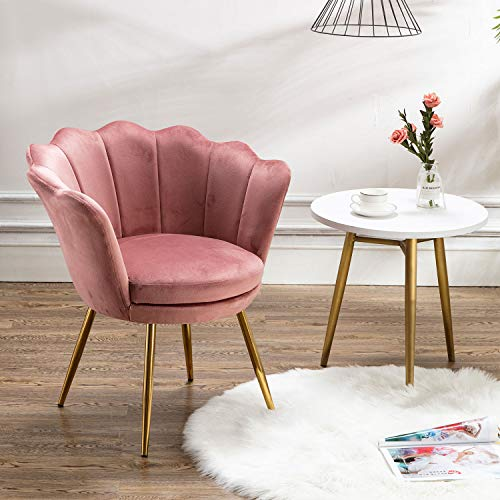 Chairus Living Room Chair, Mid Century Modern Retro Leisure Velvet Accent Chair with Golden Metal Legs, Vanity Chair for Bedroom Dresser, Upholstered Guest Chair(Antique Pink)