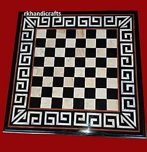 """36"""" Square Shape Chess Cum Patio Table Top Black Marble Inlay Semi Precious Stone & Unique Design"""