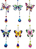 Red Co. Butterfly Suncatcher with Painted Wings Art Glass Hanging Charm - Assorted (One Charm)