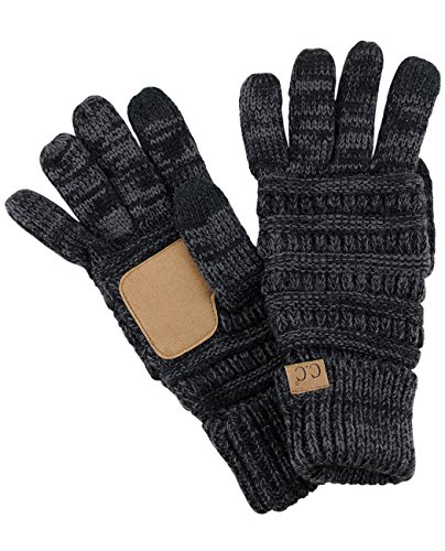 C.C Unisex Cable Knit Winter Warm Anti-Slip Touchscreen Texting Gloves, Black/Gray