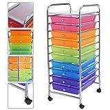 NICE USEFUL 10 Drawer Rolling Storage Cart Scrapbook Paper Office School Organizer (Rainbow)