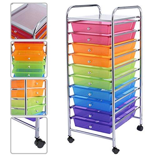NICE USEFUL 10 Drawer Rolling Storage Cart Scrapbook Paper Office School Organizer (Rainbow) by COSTWAY