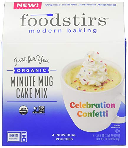Foodstirs Organic Non GMO Minute Mug Cake Mix Celebration Confetti Cake  254 Ounce Pack of 4
