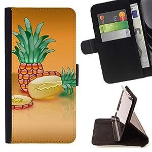 BullDog Case - FOR/Samsung Galaxy S6 / - / Fruit Macro Pineapple Slice /- Monedero de cuero de la PU Llevar cubierta de la caja con el ID Credit Card Slots Flip funda de cuer