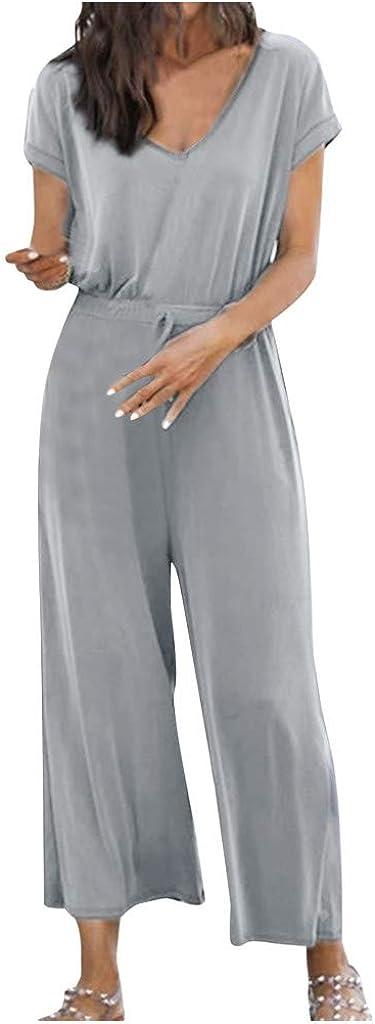 Kaister Damen Kurzarm Overall mit V-Ausschnitt und V-Ausschnitt l/ässiges lockeres Set