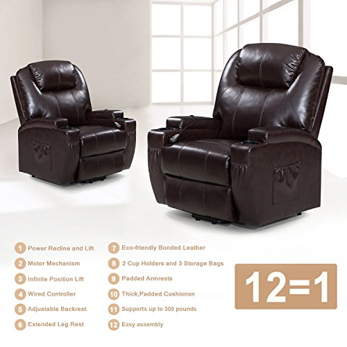 Windaze Power Lift Recliner Chair With Luxurious Bonded Leather, Heavy Duty  Steel Lounge Living Room Sofa, ...