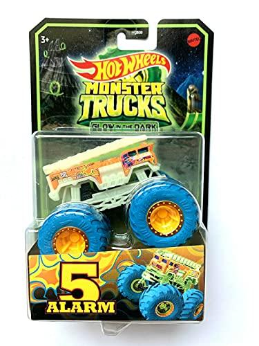 DieCast Hotwheels Monster Trucks Fire Truck [5 Alarm] - Glow in The Dark (1:64 Scale)