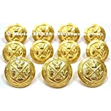 NEW Premium GOLD Toned METAL ~GOLF KING'S ROYAL CREST~ Shank Style Sport Coat BLAZER BUTTON SET