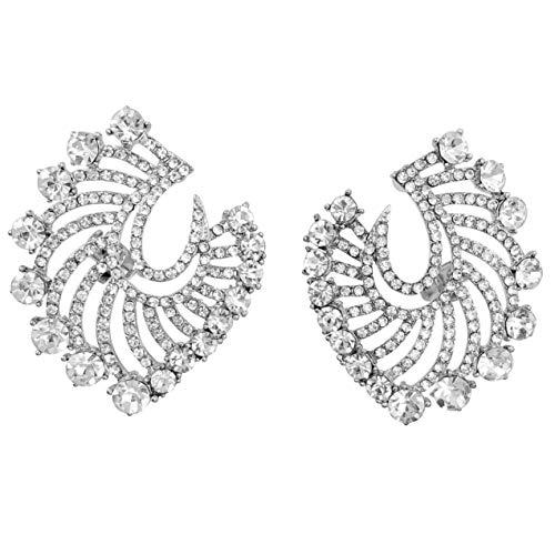 (Large Rhinestone BIG BLING Burst Fancy Formal Prom Clip On Earrings (Silver Tone Swirl))