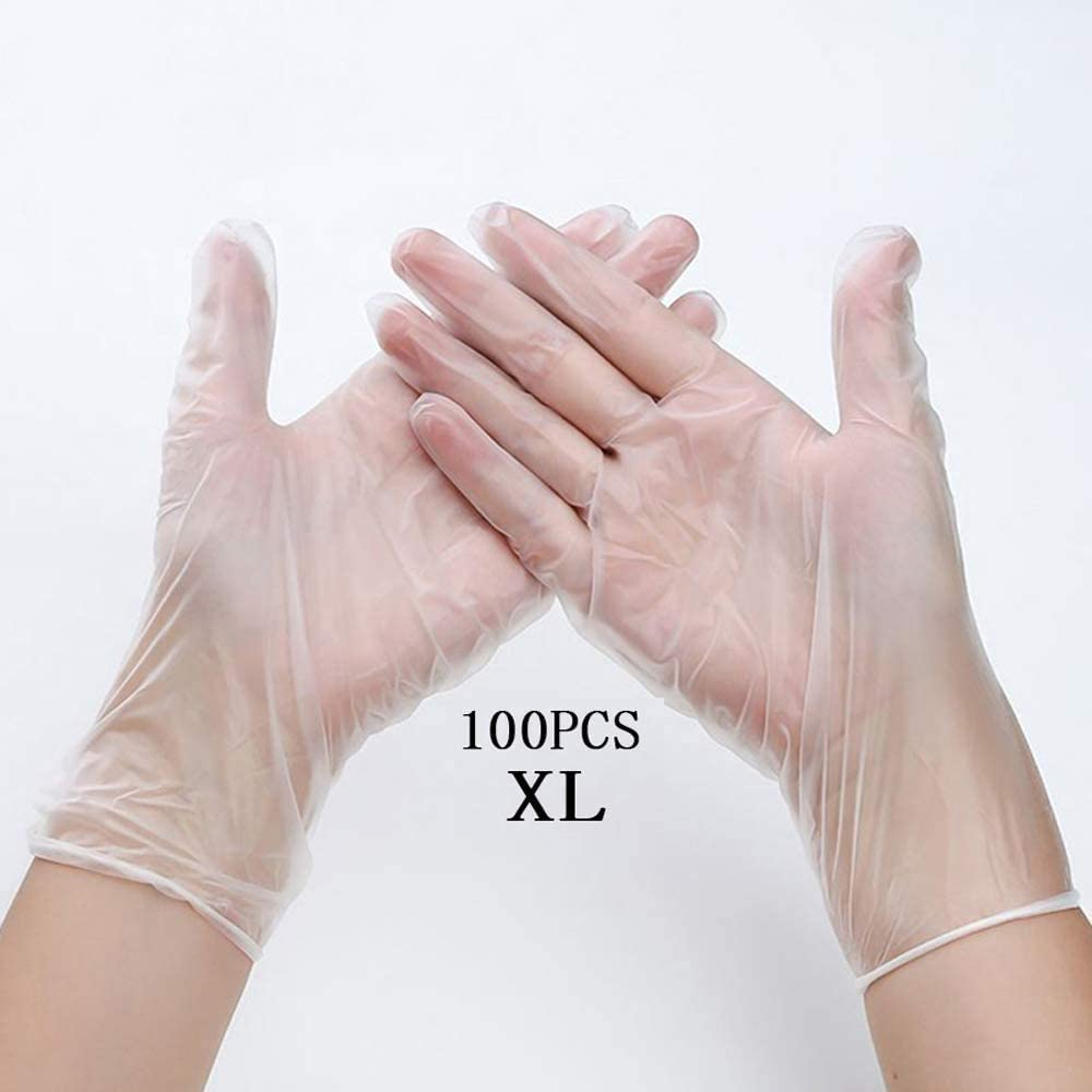 Disposable Vinyl Gl0ves 100Pcs, Disposable Safety Gl0ves, Powder Free, Latex Free for Kitchen Cooking Cleaning Mechanics, Automotive- Ships from US -Clear(X Large)