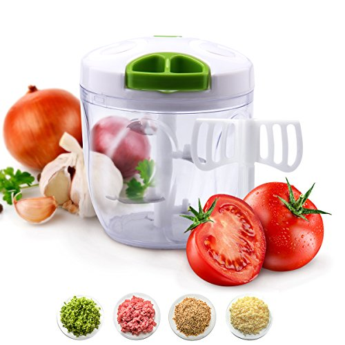 Manual Professional Pull Food Choppers and Dicers - Mini Manual Mincer Slicer - Powerful Easy Pull Upgraded Hand held Fruit / Vegetable / Garlic / Onion Chopper (5 Blades)