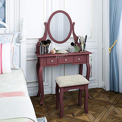 Homesailing Makeup Vanity Dressing Table Set with Drawers and Stool Mirror for Woman Girls Modern Style Vanity Table for Bedroom Corner Bathroom for Kids Girls Woman Gift (Cherry)