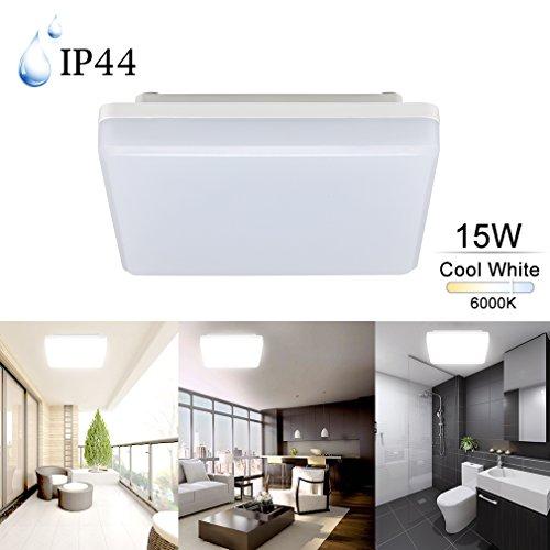 COOLWEST LED Flush Mount Ceiling Light For Kitchen Bathroom Diningroom IP44 7.87' 15W 6000K Cool White Square