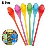 balance spoon - Joyibay 6PCS Egg Spoon Toy Wooden Spoon Toy Balance Training Race Game Toy for Kids Party