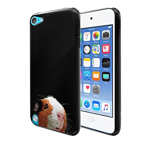 FINCIBO Case Compatible with Apple iPod Touch 5 6, Flexible TPU Black Silicone Soft Gel Skin Protector Cover Case for iPod Touch 5 (5th) iPod Touch 6 (6th) - Black White Brown Guinea Pig (Pig Ipod Touch 5 Case)