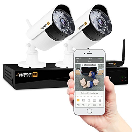 Long Range Video Surveillance - Defender Wireless HD 1080p 4 Channel 1TB DVR Security Surveillance System Smart Adaptive Wireless Technology 2 Long Range Night Vision High Definition Bullet Cameras
