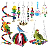 10 Pieces Bird Swing Toys Parrot Hammock Bell Toys Swing Hanging Toys for Small Parrots, Conures, Love Birds, Small Parakeets Cockatiels, Macaws