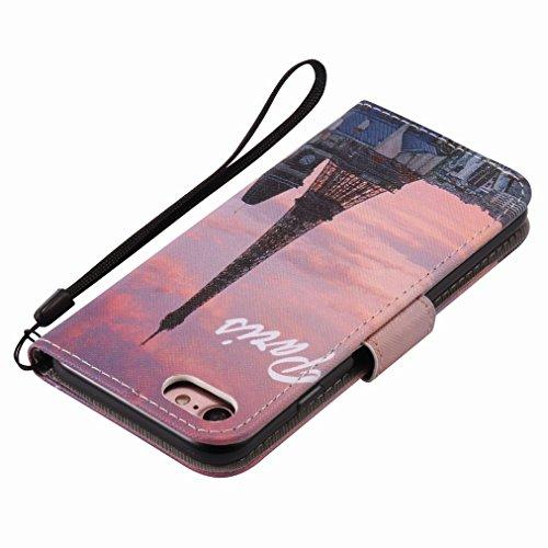 Custodia Apple iPhone 7 Cover Case, Ougger Portafoglio PU Pelle Magnetico Stand Morbido Silicone Flip Bumper Protettivo Gomma Shell Borsa Custodie con Slot per Schede, Torre Eiffel