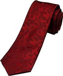Zarrano Skinny Tie 100% Silk Woven Red Paisley Tie