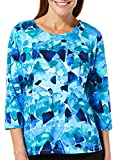 Alfred Dunner Petite Abstract Broken Glass Top X-Large Petite Blue/White