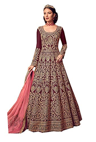 Ethnic wear red Colored Anarkali Indian Pakistani Salwar Kameez for Women 6701 (Maroon, XL-44)