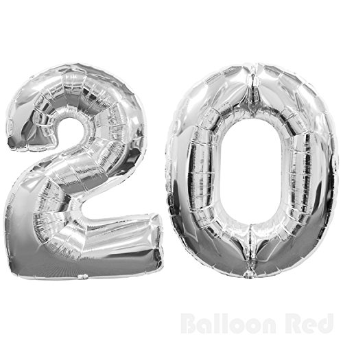 20's Homemade Costumes (30 Inch Foil Mylar Balloons for Wall Decoration (Premium Quality, Air or PURE Helium Fill Only), Glossy Silver, Number 20)
