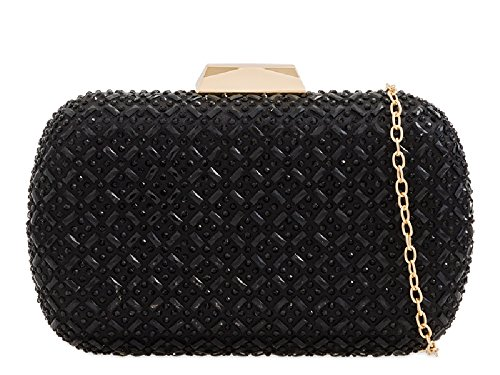 Bag Diamante Party Evening KH2217 Clutch Box Ladies Purse Women's Cocktail Handbag Bag Black SHqTxBwA