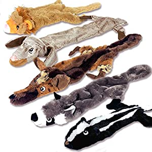 High Five Pets Dog Squeaky Toys – No Stuffing Dog Toys Set – No Dangerous Fluff to Chew or Swallow – 2 Squeakers – Big Plush Dog Toys for Small Dogs and Large Dogs Alike – Bulk Bundle – Pack of 5