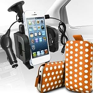 Nokia Lumia 635 Protección Premium Polka PU ficha de extracción Slip In Pouch Pocket Cordón piel cubierta Con Quick 12v Micro USB cargador de coche y soporte universal de la succión del parabrisas del coche Vent Cuna anaranjado y blanco por Spyrox