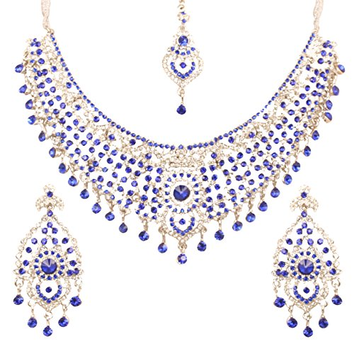 Touchstone Indian bollywood white/blue Austrian crystals bridal jewelry necklace in silver tone for women (Jewelry Touchstone Crystal)