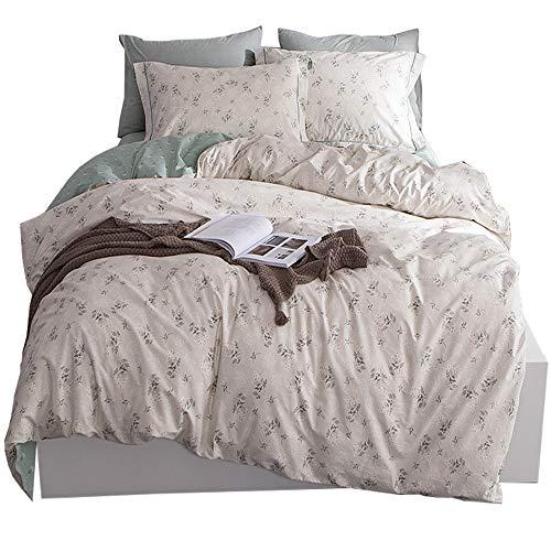 HIGHBUY Fresh Floral Print Cotton Bedding Set Queen Reversible Garden Comforter Quilt Duvet Covers and Pillowcases Lightweight Soft Full Duvet Cover Set Zipper Closure Durable Breathable Queen/Full (Beige Comforter Set)
