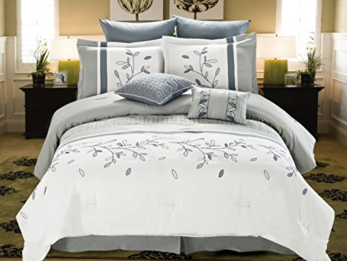 Cathay Home 8 Piece Willow Embellishment Comforter Set, King, Grey/White (Willow King Comforter)