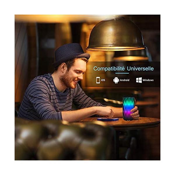 Enceinte Bluetooth Portable Lumineuse Haut-Parleur Bluetooth sans Fil avec LED Lumière Radio,Diamond Design,Camping,l'extérieur Les Voyages 4