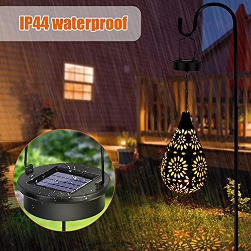 Solarlaterne für außen, LED Solar Laterne Hängend, Solarlaternen für den garten mit Wasserdicht, Deko Metall Solar Laterne für Aussen, Garten, Patio, Balkon, Wand, Tisch, Party(Haken)